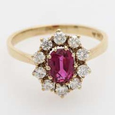 Ruby ring with diamonds,