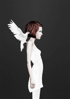 Ruben Ireland #girl #dove #bird #illustration #fly #angel #art #and #dark #wings #light