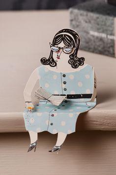malinkoort.se #woman #book #doll #dots #illustration #read #paper