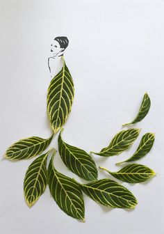 Fashion in Leaves7 #illustration #nature