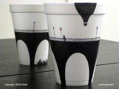 CJWHO ™ (Amazingly Detailed Illustrations Drawn on Foam...) #cups #cheeming #design #foam #illustration #drawn #boey #art #coffee