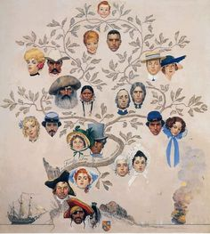 A Family Tree by Norman Rockwell #family #tree #rockwell #genealogy #illustration #portrait #cameo #painting #norman