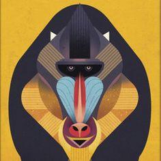 Monkey Illustration by Dieter Braun #illustration #animal #monkey #iconic #geometric