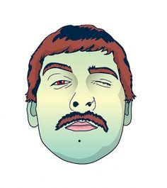 Floating head | Flickr – Compartilhamento de fotos! #moustache #head #floating #illustration #bigode