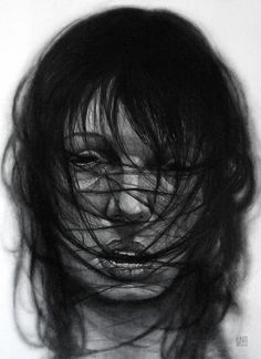 Drawings by Eduardo Flores I Art Sponge #woman #bite #black #hair #portrait #flores #drawing #eduardo