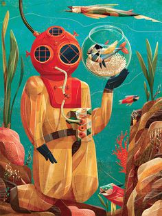 Illustrations by Goncalo Viana | Inspiration Grid | Design Inspiration #nautical #illustration #diver