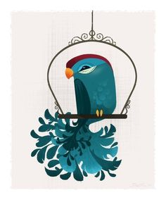 Blue Birdie Mini Print #blue #illustration #bird