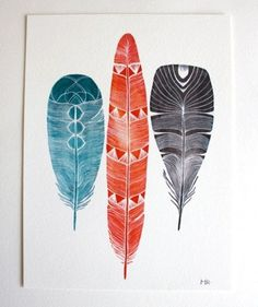 Love these colors. #print #feathers