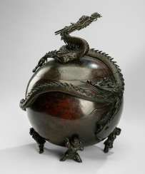 Spherical Koro Bronze on four feet in the Form of Karako surmounted by a dragon
