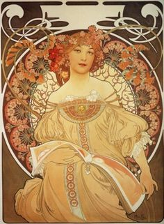 Reverie by Alphonse Mucha #illustration #mucha #painting #flowers