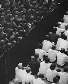 Untitled, from Fervor (2000)Shirin Neshat Gelatin silver print #white #woman #divide #crowd #black #photography #prayer #thought #and #lady #audience