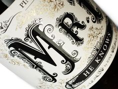 Mr. P (He Knows) Wine label design on Behance #type #bottle #wine #typography