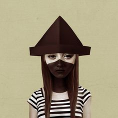Ceci n'est pas un chapeau by Ruben Ireland #girl #stripes #ninja #hat #paper