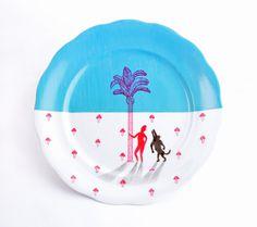 Talerz naścienny płaski 01 — Cloudmine #plate #ceramic #painting