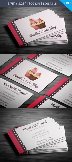 Free Sweets Bakery Business Card Template