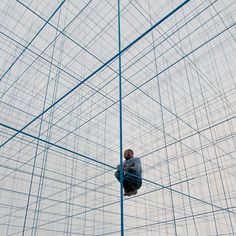 inflatablejunglegym3 #abstract #lines #installation #string #gym #blue #jungle