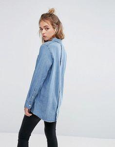 Cheap Monday | Cheap Monday – Jeanshemd mit Knopfleiste hinten