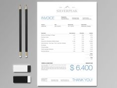 Silverpeak Invoice https://creativemarket.com/andre28/16641-Silverpeak-Stationery-Set-Invoice?u=andre28 #invoice #branding #silverpeak #stationery #template