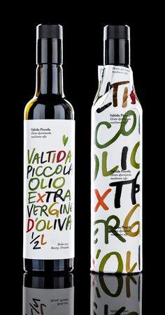 Valtida Piccola #lettering #oil #bottle #packaging #label #olive #type #hand #typography