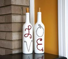 Homemade Wine Bottle Crafts #diy #craft #wine #bottle