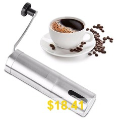 Manual #304 #Stainless #Steel #Shell #Ceramic #Core #Coffee #Grinder #Portable #Size #- #SILVER