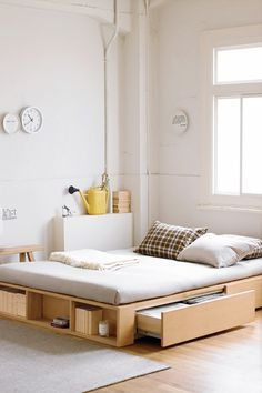 Bed with side drawers #Minimal #home #inspiration