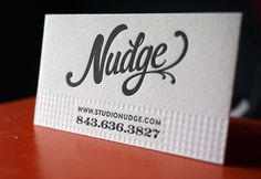 Nudge business card by Hoban Letterpress