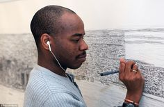 Stephen listens to his iPod as he draws the famous skyline. He draws on music from the 70s to the 90s, including blues, soul, funk, Motown,