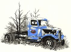 Work Stories #truck #rust #illustration #vintage #trees