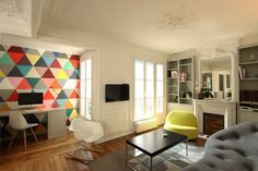 Colorful Apartment Design in the Chic 7th District of Paris Read more: http://freshome.com/#ixzz38KIwXPYU