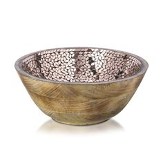 Bowl Mosaic Wood And Glass, Natural And Copper 25cm x 11cm