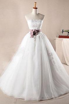 Robe de mariée naturel cordon en organza decoration en fleur de mode de bal - photo 1