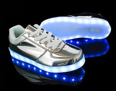 Light up shoes Luminous Shoes Sneaker Casual silver Shoes