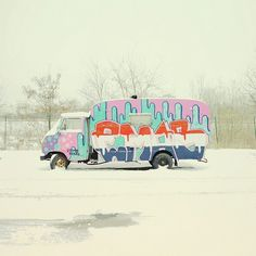 Untitled | Flickr - Photo Sharing! #truck #graffiti #van #retro #snow #germany #colors #tag #vintage
