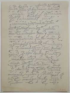 """thinkingimages: """""""" William Anastasi, Word Drawing Over Short Hand Practice Page, 1962, graphite on found paper, 5 7/8 x 4 3/8 inches (14"""