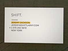 Shift Lab Card #card #letterpress #minimal #business