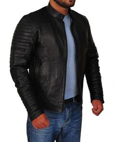 Men's Motorcycle Padded Design Leather Jacket (3) F-R-O