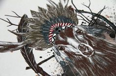 www.larabispinck.com #deer #headgear #feathers #indian #illustration #dreamcatcher #realistic #aztec #watercolor #animal