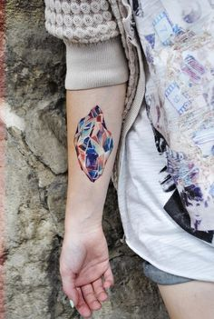 Crystal #tattoo #color #stone #mineral