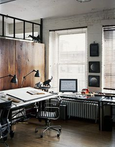 desk and wooden wall