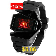 Sanda #P028G #Silicone #Band #LED #Digital #Men #Watch #for #Outdoor #Activities #- #BLACK
