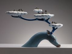 Twibfy #islands #antler #clouds #deer #sculpture #myth #art #creation #blue #ceramic #beauty