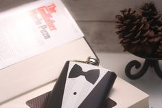 Hollow Book Safe and Tuxedo Hip Flask The by HollowBookCo on Etsy #mario #white #red #safe #godfather #flask #design #books #book #black #the #hollow #puzo #tuxedo #bow #velvet #tie