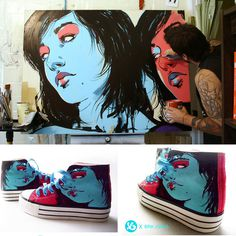 Girlz on Shoes by theirison on deviantART #girl #graphic #converse #blue #face