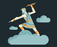 Luke Bott #cloud #illustration #lightning #bolt #zeus