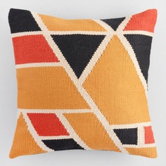 World Market Warm Geometric Woven Indoor Outdoor Throw Pillow by Cost Plus World Market - Dwell