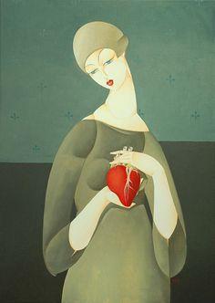 Artodyssey: Urszula Tekieli #heart #pose #woman #design #illustration #painting #art #surreal
