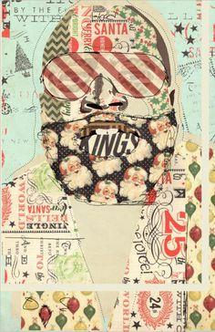 """""""Hood Santa: Ricky Ross"""" www.KyleMosher.com #illustration #art #kylemosher #vintage #newspaper #hiphop #portrait #rap"""