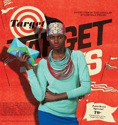 Target, circular, weekly, promo, red, reddish orange, orange, model, hair, hairstyle, hairdo, vintage, photography, print