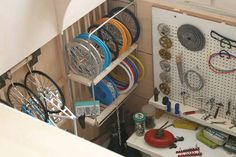 TinyGarage Interior overhead.jpg #wheels #workshop #bike #art #miniature